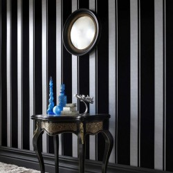 Flock Star Black and Silver Stripe Wallpaper