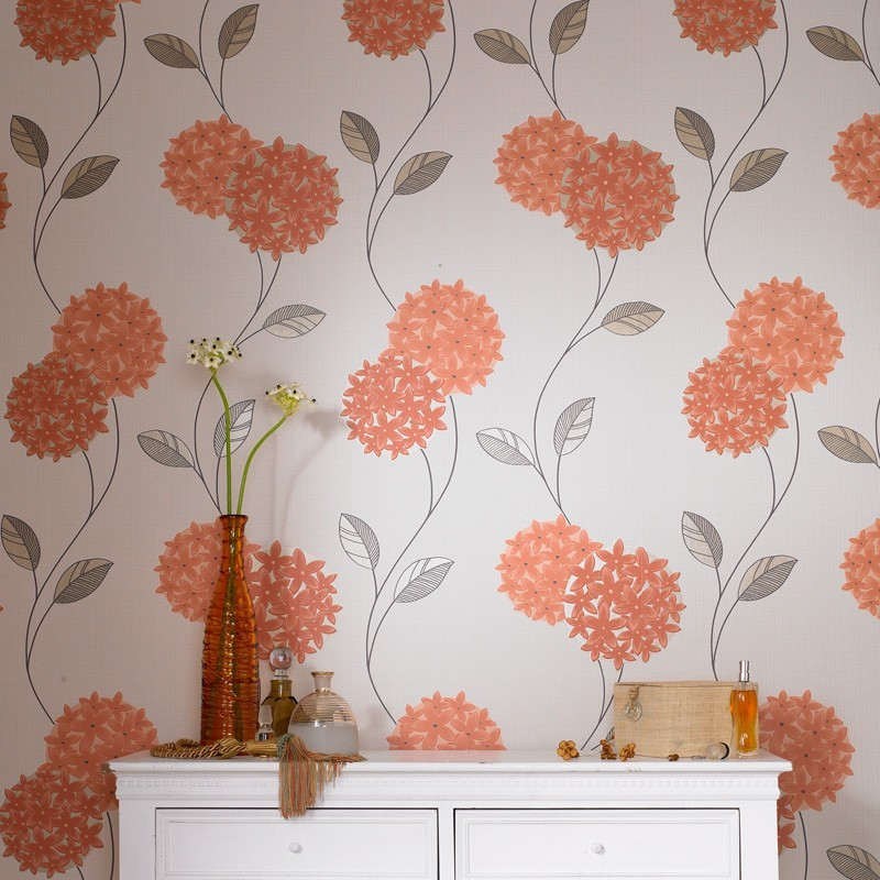 Orange Cream Wallpaper Floral Wallpaper Pippa Wallpaper