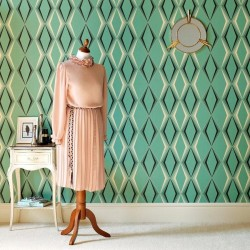 Deco Diamond Green Retro Wallpaper