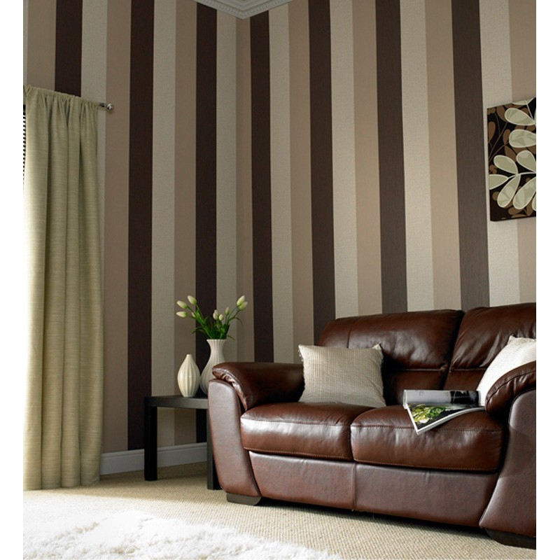 Cream striped wallpaper living room living room for Brown and cream living room wallpaper