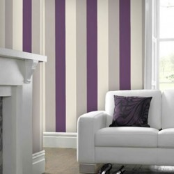 Stria Purple & Cream Wallpaper