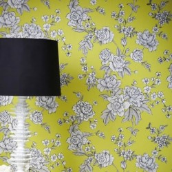 Kensington Yellow & White Wallpaper