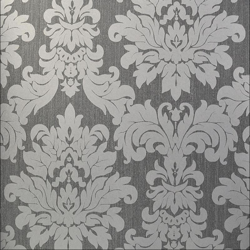 Versalles silver grey damask 20109 for Black and grey wallpaper designs