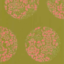 Cerclé Pink on Green Wallpaper