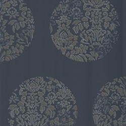 Cerclé Gold on Charcoal Black Wallpaper