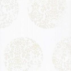 Cerclé Cream on White Wallpaper