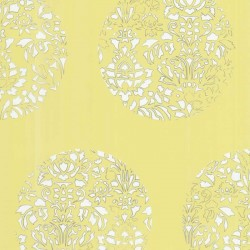 Cerclé White on Pale Yellow Wallpaper