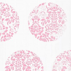 Cerclé Pink on White Wallpaper