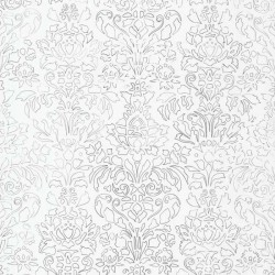 Comblé Charcoal Black on White Wallpaper