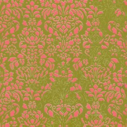 Comblé Pink on Green Wallpaper