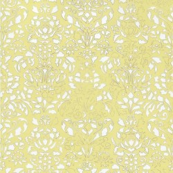 Comblé White on Pale Yellow Wallpaper