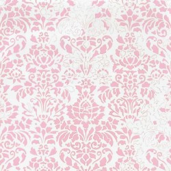 Comblé Pink on White Wallpaper