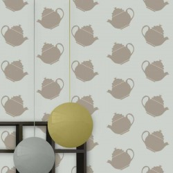 Teapot Crazy Grey Wallpaper