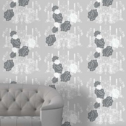 Rosey Glow Dark Grey Wallpaper