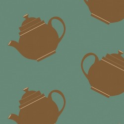 Teapot Crazy Green Wallpaper