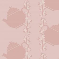 Floral Teapot Pink Wallpaper