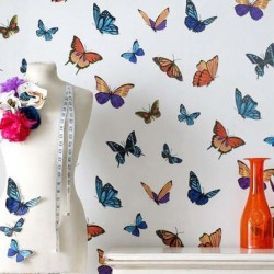 Flutterby Butterfly White Wallpaper