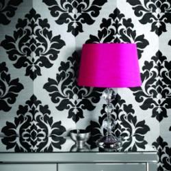 Nightfall Black Damask Flock Wallpaper