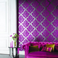 Nightfall Pink Flock Damask Wallpaper