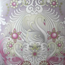 Swans Plata Silver and Pink Wallpaper