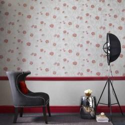 Hua Beige & Red Wallpaper