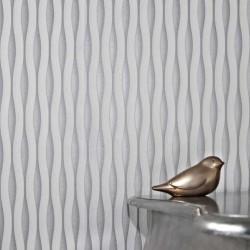 Lucid White & Silver Wallpaper