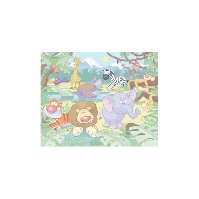 Walltastic baby jungle safari wall murals kids wall murals for Baby jungle mural