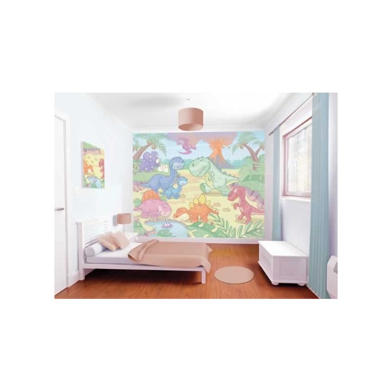 Walltastic baby dino world wall mural wall murals kids for Baby mural wallpaper