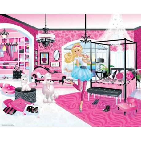 Walltastic barbie wall mural wall murals kids wall murals for Barbie princess giant wall mural