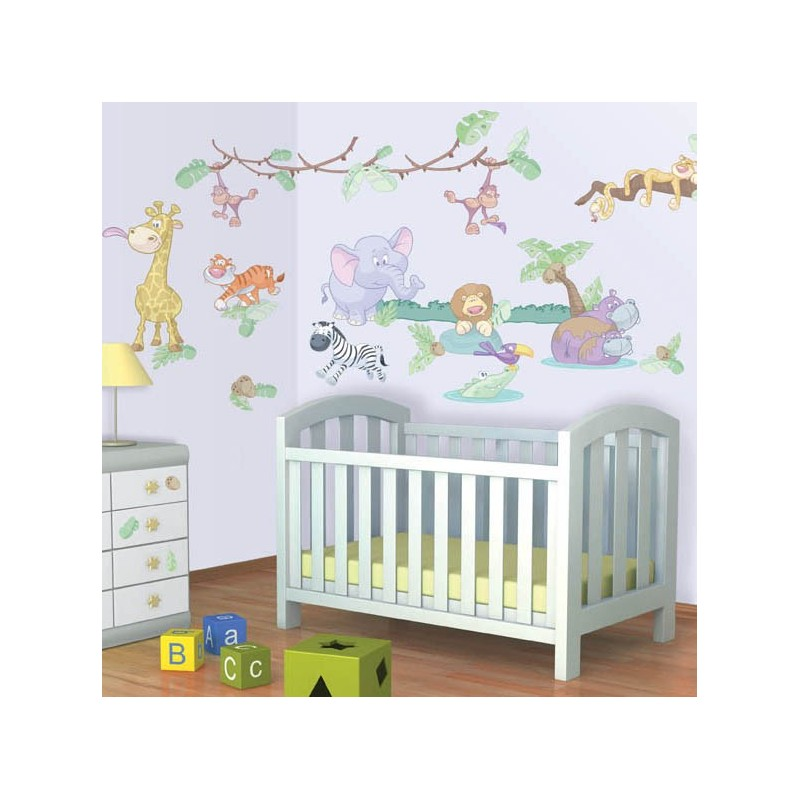 Baby jungle safari wall stickers 41059 wall stickers for Baby room jungle mural
