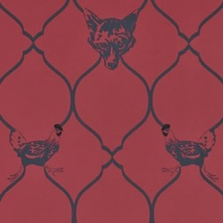Fox & Hen Red Wallpaper