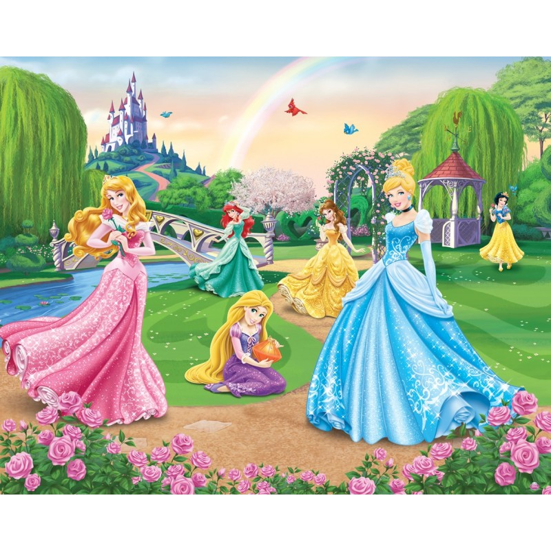 Walltastic disney princess wall mural 41318 wall mural for Disney princess wallpaper mural uk