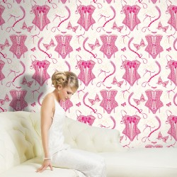 Nicole Pink & Cream Flock Wallpaper