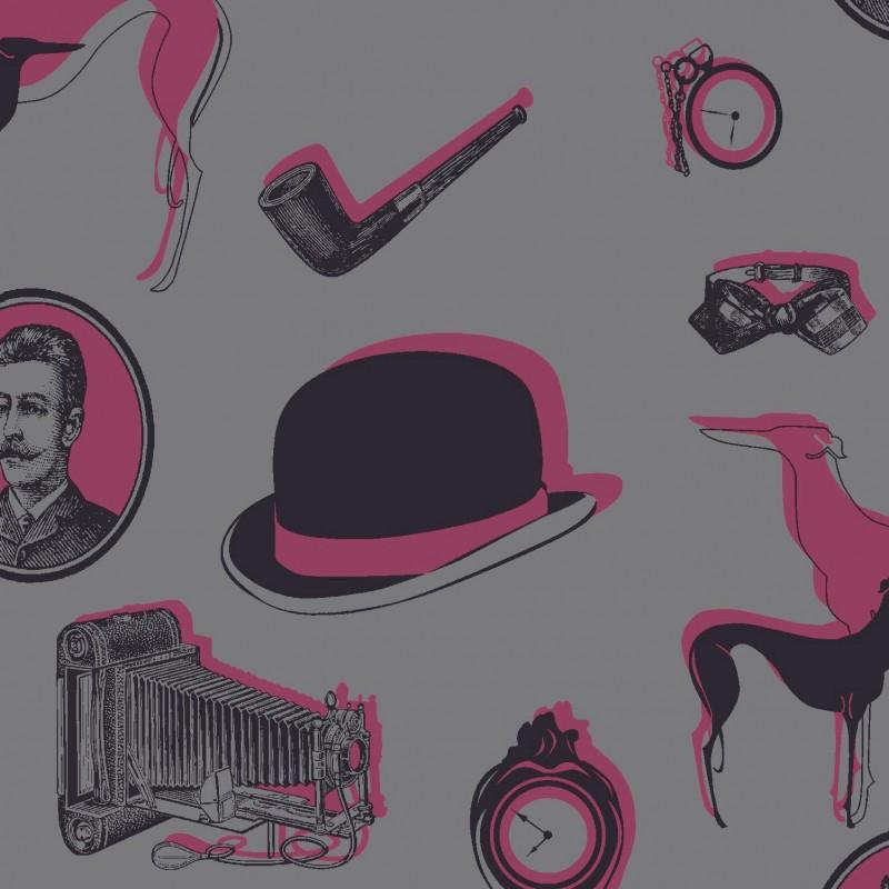 Bertie omgr07103 wallpaper black pink flock wallpaper for Pink and grey wallpaper