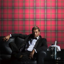 Brodie Red Dandy Black Flock on Red Tartan Check