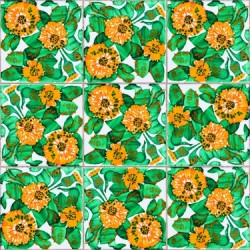 Daisy Tiles Green Wallpaper