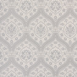 Otoman Silver on Ivory Cream Wallpaper