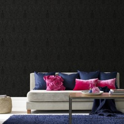 Majestic Black Damask Wallpaper