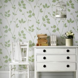 Virtue Green Floral Wallpaper