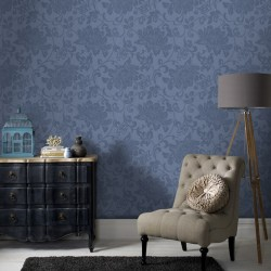 Jacquard Blue Floral Wallpaper