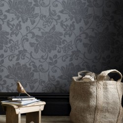 Jacquard Grey Floral Wallpaper