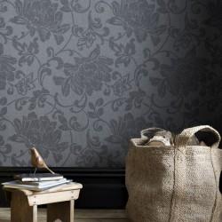 Jacquard Grey Floral Wallpaper