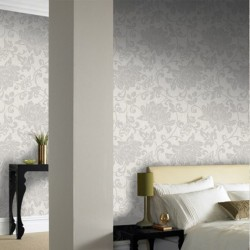 Jacquard White Floral Wallpaper
