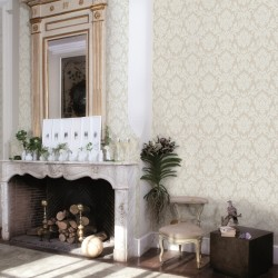 Beaune Ivory White Damask Wallpaper
