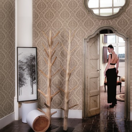 Magny Or Pale Gold Damask Wallpaper