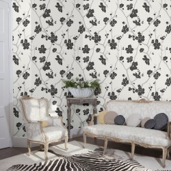 Corcelle Black & White Floral Wallpaper
