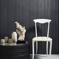 Laddered Stripe Midnight Grey Wallpaper