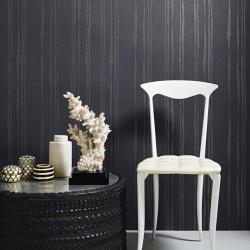 Laddered Stripe Midnight Grey Wallpaper