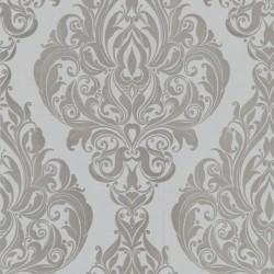 Kinky Vintage Grey Flock Wallpaper