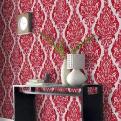 Kinky Vintage Fuchsia Pink Flock Wallpaper